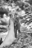 Newlyweds and Tower Gardos Royalty Free Stock Image