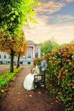 Newlyweds in una proprietà terriera immagini stock libere da diritti