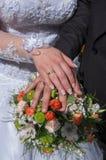 newlyweds Verplichting, geluk en liefde royalty-vrije stock afbeeldingen