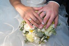 newlyweds Verplichting, geluk en liefde royalty-vrije stock foto's