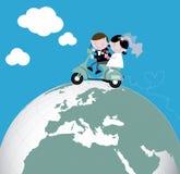 Newlyweds vespa scooter ride honeymoon. Newlyweds on a Vespa around the world stock illustration