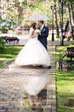 Newlyweds walk Stock Images