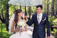 Newlyweds walk Royalty Free Stock Photography