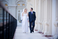 Newlyweds walking Stock Image