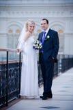 Newlyweds walking Stock Photos