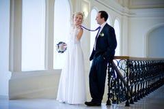 Newlyweds walking Royalty Free Stock Photos