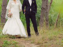 Newlyweds Walking in Forest Royalty Free Stock Photos