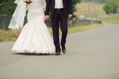 Newlyweds Walking in Park Stock Photo