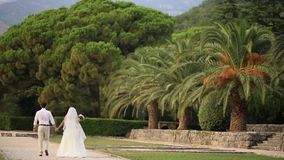Newlyweds are walking in the park of Milocer, in Montenegro, nea. R the island of Sveti Stefan stock footage