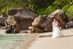 Newlyweds with wedding bouquet Stock Image
