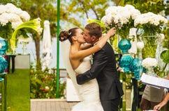 The newlyweds during wedding ceremony. Royalty Free Stock Photos