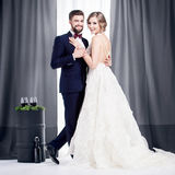 Newlyweds in a wedding dress and a suit Royalty Free Stock Photo