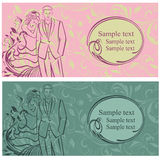 Newlyweds. Wedding invitation. Floral ornament. Royalty Free Stock Photo