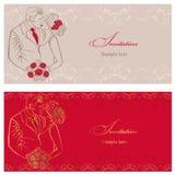 Newlyweds. Wedding invitation. Stock Photography