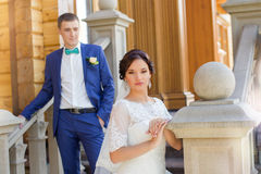 Newlyweds at the wedding a walk in the countryside Royalty Free Stock Image