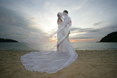 Newlyweds and wind. Newly married couple kiss on the windy beach Royalty Free Stock Photography