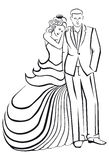 Newlyweds. Woman in a ball gown dress with man. Stock Image