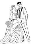 Newlyweds. Woman in a ball gown dress with man. Stock Images
