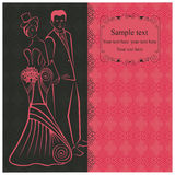 Newlyweds. Woman in stylish dress in the top-hat. Pink invitation. Stock Photo