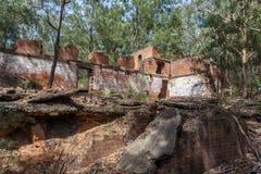 Newnes在Lithgow附近的页岩油废墟 免版税库存照片