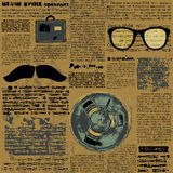 Newpaper with hipster elements Stock Images