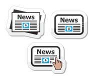 Newpaper, nieuws op tabletpictogrammen geplaatst zoals etiketten Stock Fotografie