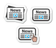 Newpaper, notizie sulle icone del ridurre in pani impostate come contrassegni Fotografia Stock