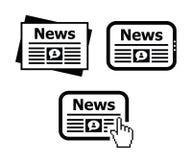 Newpaper nyheterna på inställda tabletsymboler Fotografering för Bildbyråer