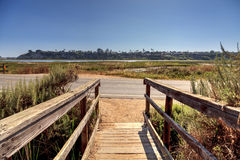 Newport Back Bay loop hiking trail. Winds along the marsh, where you will see wildlife in Newport Beach, California USA Stock Image
