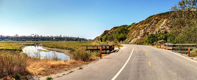 Newport Back Bay loop hiking trail. Winds along the marsh, where you will see wildlife in Newport Beach, California USA Stock Photos