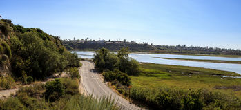 Newport Back Bay loop hiking trail. Winds along the marsh, where you will see wildlife in Newport Beach, California USA Royalty Free Stock Images