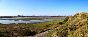 Newport Back Bay loop hiking trail. Winds along the marsh, where you will see wildlife in Newport Beach, California USA Stock Images