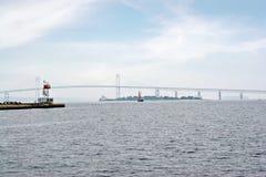 Newport Bay Suspension Bridge Stock Image