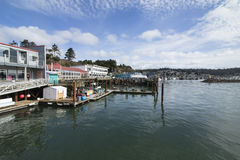 Newport Bayfront, Oregon. Bright shops and restaurants line the Yaquina Bay, framed by piers and docks. This is an area of tourism and fisheries Royalty Free Stock Photos