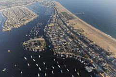Newport Beach Balboa Bay Aerial View. Aerial view of Newport Beach Harbor and Balboa Bay in Orange County, California royalty free stock images