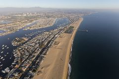 Newport Beach Bay and Harbor Aerial. Aerial view of Newport Beach Harbor, Balboa Bay, nearby homes and parks royalty free stock image