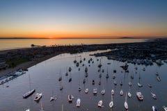 Newport Beach California Marina. Boats parks in the Newport Beach California Marina at sunset royalty free stock photography