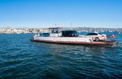 Small car ferry crossing to Balboa Island in Newport beach stock photo