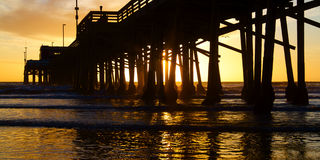 Newport Beach California Pier at Sunset Royalty Free Stock Photos