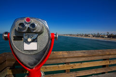 Newport beach in California view from pier telescope Royalty Free Stock Photo