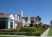 Newport Beach neighborhood. A Newport luxury neighborhood showing coastal view homes is some of the world's most expensive real estate Royalty Free Stock Photo