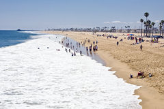 Newport Beach North. Expansive sandy shore attracts sun worshipers to the surf in Newport Beach, California Stock Images