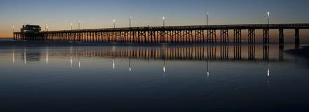 Newport beach pier panorama Stock Image