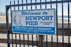 Newport Beach Pier sign royalty free stock image