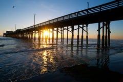 Newport beach pier sundown Stock Images