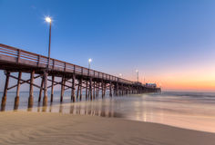 Newport Beach pier at sunset time Stock Photo
