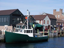 Newport Boat. The boat anchored in the old harbour of Newport city, Rhode Island Stock Photo