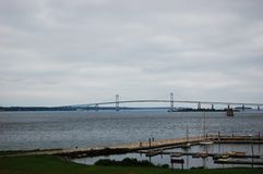 Newport Bridge across sea, Rhode Island Stock Image