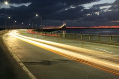 Newport bridge. At night, Rhode Island Royalty Free Stock Photography