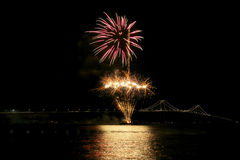 Newport bridge. In Rhode Island at night Royalty Free Stock Photo